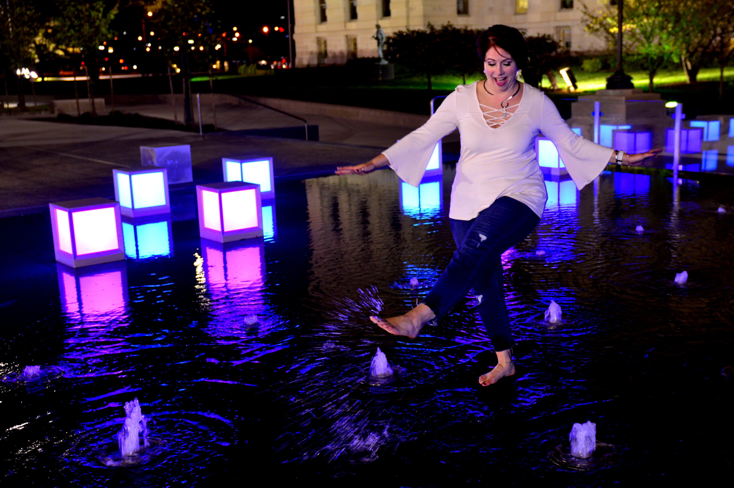 Karmen Fink playing in water